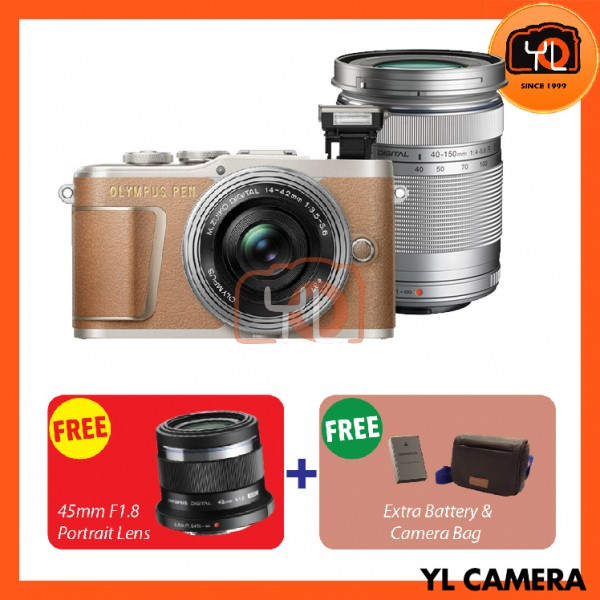Olympus E-PL9 Twin Lens Kit [14-42mm + 40-150mm] (Brown)  [Free Lexar 32GB 95MB SD Card] [Online Redemption 45mm F1.8 + Extra Battery + Olympus Camera Bag]