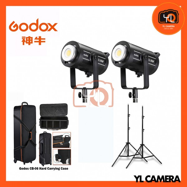 Godox SL150W II LED Video Light 2 Light Stand with CB-06 Trolley Carring Bag