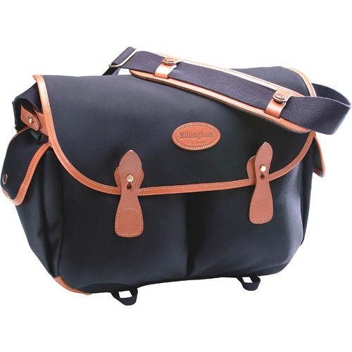 (SPECIAL DEAL) Billingham Packington Shoulder Bag (Black with Tan Leather Trim)