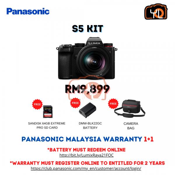 Panasonic Lumix DC-S5 + S 20-60mm F3.5-5.6 ( Free 64GB SD Card ,DMW - BLK22GC Battery , Camera Bag )