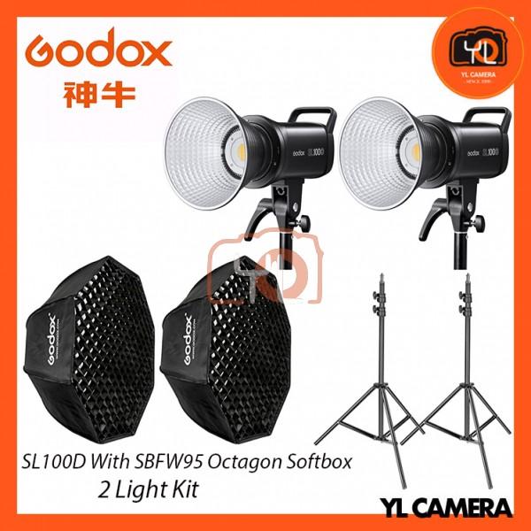 Godox SL100D Daylight With SB-FW95cm Octagon Soft Softbox + 280CM Light Stand (2 Light Duo Kit)