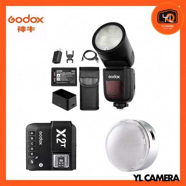 Godox V1 TTL Li-ion Round Head Flash + R1 Round RGB Mini Creative Light With X2T 2.4 GHz TTL Wireless Flash Trigger for Canon Combo Set
