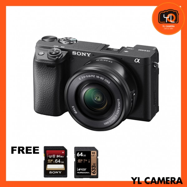 (Promotion) Sony a6400 (Black) + E PZ 16-50mm F3.5-5.6 OSS [Free Sony 64GB SD Card + Lexar 64GB SD Card]