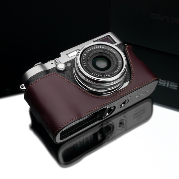 Gariz Genuine Leather XS-CHX100MB Camera Metal Half Case for Fuji Fujifilm X100, Brown
