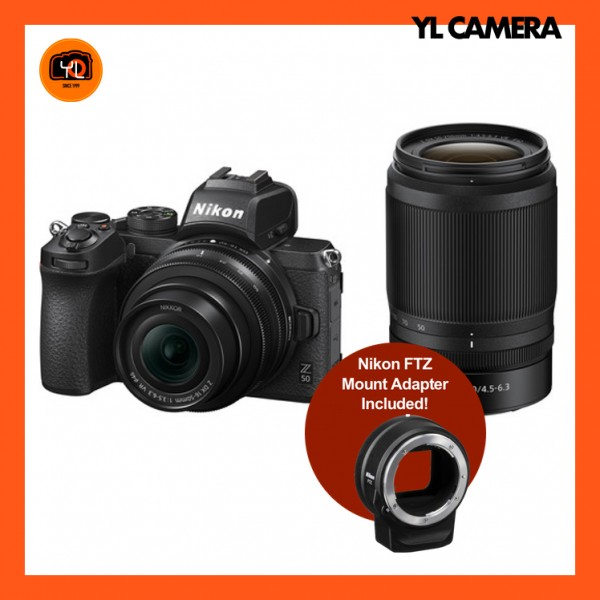 Nikon Z 50 Camera + DX 16-50mm F3.5-6.3 VR + DX 50-250mm f4.5-6.3 VR + FTZ Mount Adapter