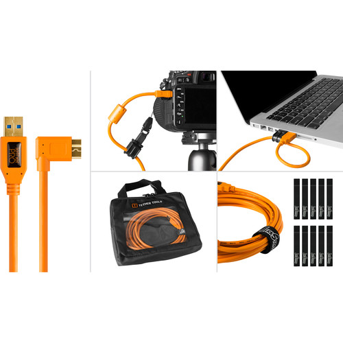 Tether Tools BTK61ORG Starter Tethering Kit with USB 3.0 Type-A to Micro-B Right Angle Cable (15', Orange)