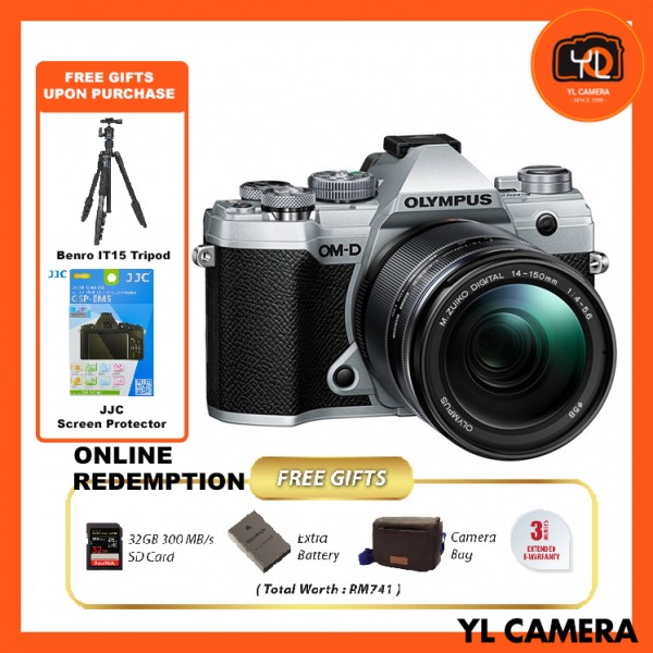 (Promotion) Olympus OM-D E-M5 Mark III W/ 14-150mm Lens - Silver (FREE Benro IT-15 Tripod + JJC Screen Protector) [Online Redemption Extra Battery + 32GB SD Card UHS-II + Olympus Bag]