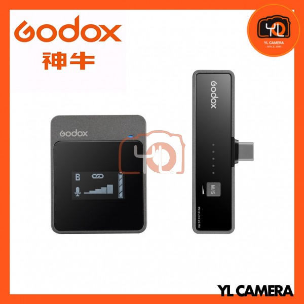 Godox MoveLink UC1 Compact Digital Wireless Microphone System for Smartphones & Tablets with USB Type-C (2.4 GHz)