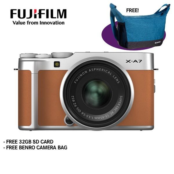 Fujifilm X-A7 + XC 15-45mm f/3.5-5.6 OIS PZ (Camel Brown) [Free 32GB SD Card]