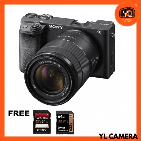 (Pre-Order) Sony a6400 (Black) + E 18-135mm F3.5-5.6 OSS [Free Sony 64GB SD Card + Lexar 64GB SD Card]
