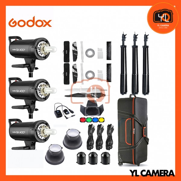 Godox SK400II Studio Strobe Super Advance Studio Kit Set (3 Lights, 60x60cm Softbox, Barndoor, Trigger, Reflector, Umbrella, Trolley Case)