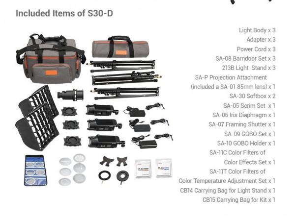 Godox S30-D Focusing LED Light 3 Light Kit Set