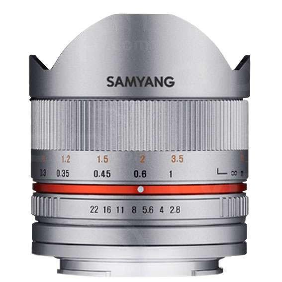 Samyang 8mm F2.8 UMC Fisheye II Lens for Canon EF-M Mount (Silver)