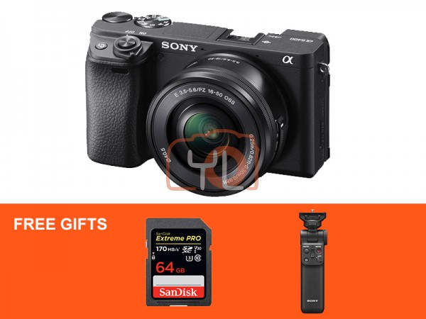 Sony a6400 (Black) + E PZ 16-50mm F3.5-5.6 OSS W/ Sony Wireless Shooting Grip [Free 64GB SD Card]