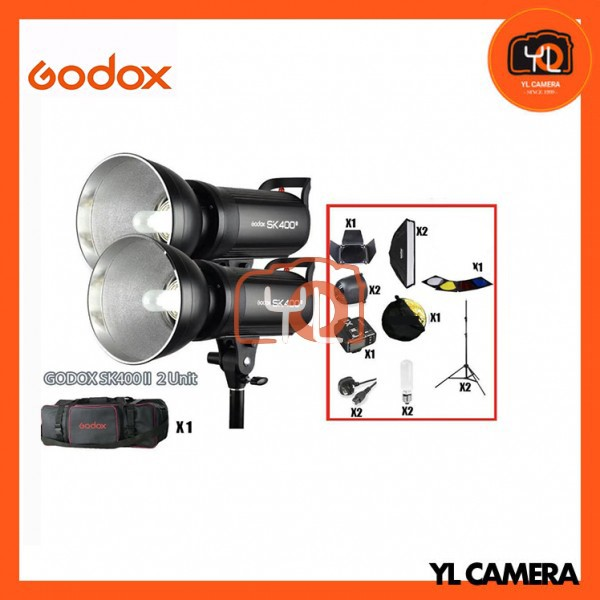 Godox SK400II Studio Strobe Advance Studio Kit Set (2 Lights, 60x60cm Softbox, Barndoor, Trigger, Carrying Case)