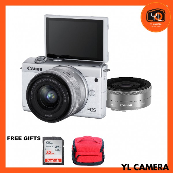 Canon EOS M200 + EF-M 15-45mm F/3.5-6.3 IS STM + EF-M 22mm F2 STM (White) [Free 32GB SD Card + Camera Bag ]