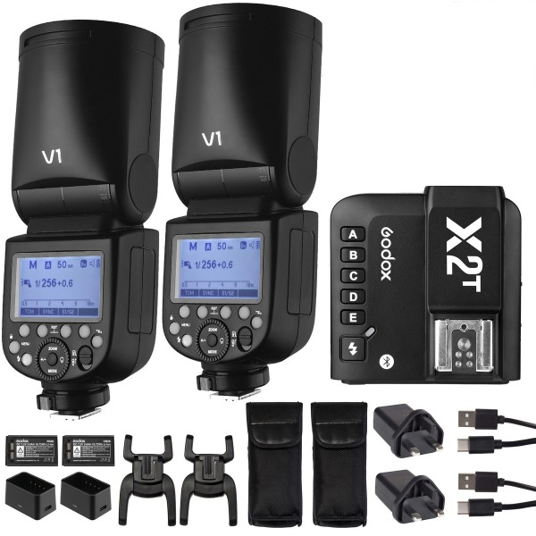 GODOX V1C Canon TTL Li-ion Round Head Camera Flash Kit X2T-C Canon Combo Set