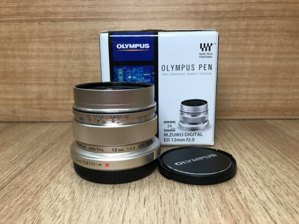 (USED YL LOW YAT)-Olympus ED 12mm F2 M.Zuiko Lens (silver),95% Condition Like New,S/N:ABF001138