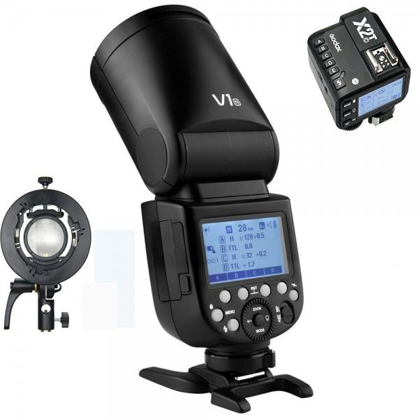 GODOX V1C Canon TTL Li-ion Round Head Camera Flash Kit X2T-C Canon Combo Set With S2 Bracket