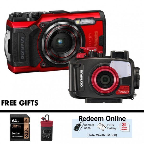 Olympus Tough TG-6 + PT-059 Underwater Housing (RED) [Free LEXAR 64GB SD Card + Camera Case]