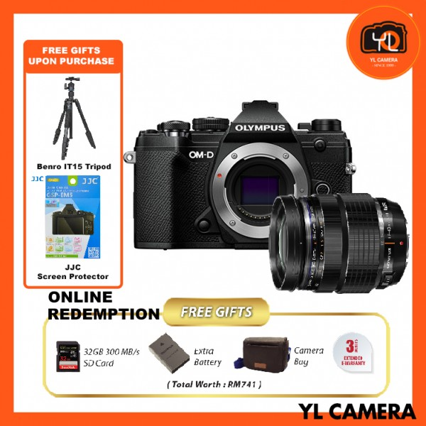 (Promotion) Olympus OM-D E-M5 Mark III W/ 12-40mm F2.8 PRO Lens - Black (FREE Benro IT-15 Tripod + JJC Screen Protector) [Online Redemption Extra Battery + 32GB SD Card UHS-II + Olympus Bag]