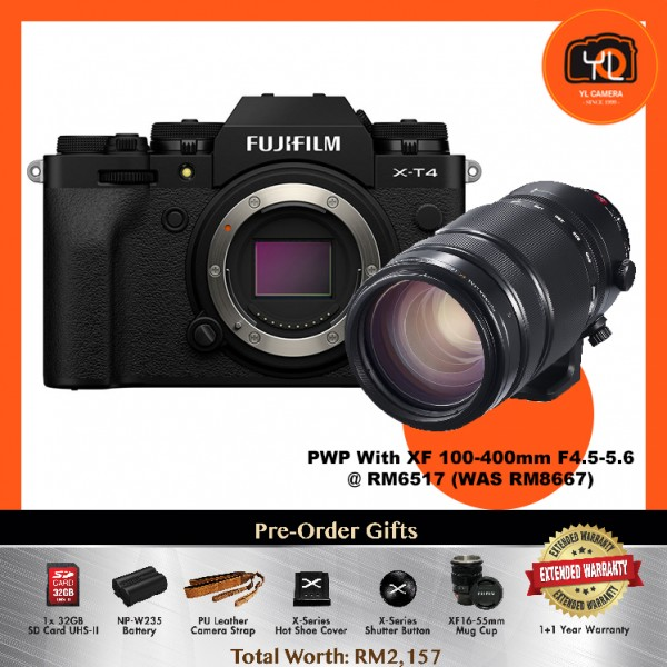 (Pre-Order) Fujifilm X-T4 - Black [With XF 100-400mm F4.5-5.6]
