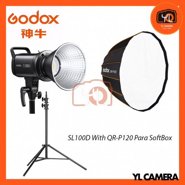 Godox SL100D Daylight With QR-P120 Parabolic Softbox + 280CM Light Stand (1 Light Kit)