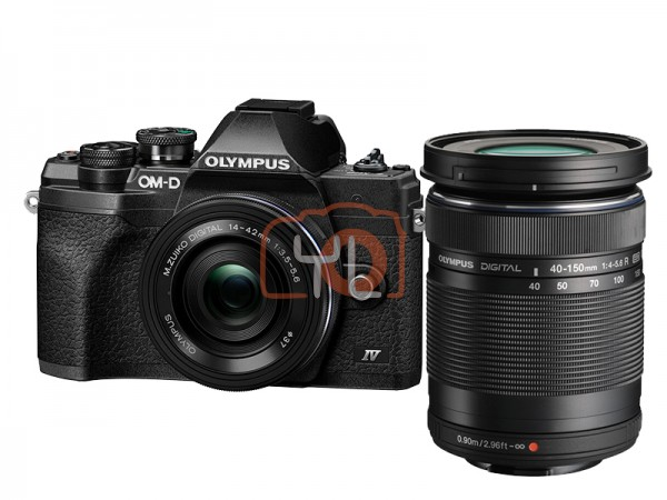 Olympus OM-D E-M10 Mark IV + M.Zuiko 14-42mm EZ & 40-150mm II – Black (Online Redemption: Extra Battery + Camera Bag)