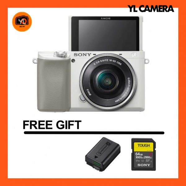 Sony a6100 + E 16-50mm F3.5-5.6 PZ OSS (White) [Free 16GB SD Card + Tough 64GB SD Card + NP-FW50 Battery]
