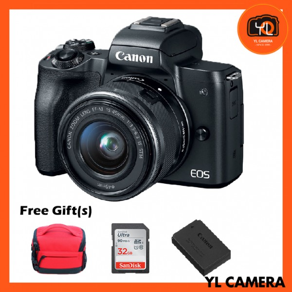(Promotion) Canon EOS-M50 Mirrorless Digital Camera + EF-M 15-45mm F/3.5-6.3 IS STM (Black) [Free 32GB SD Card + Camera Bag]