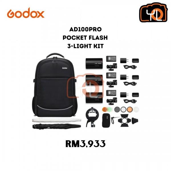 Godox AD100pro Pocket Flash 3-Light Kit