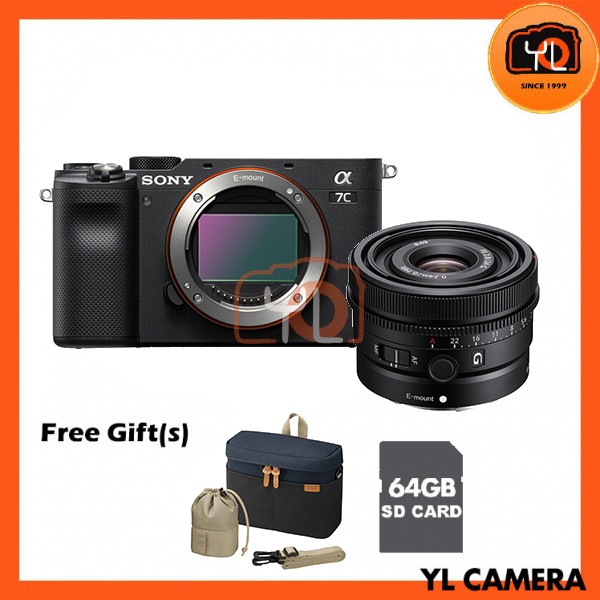 Sony A7C + FE 24mm F2.8 G - Silver (Free 64GB SD Card + LCS-BBK)