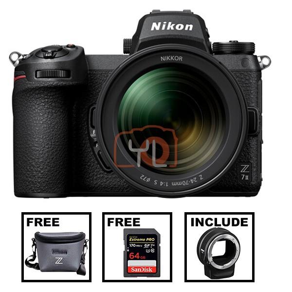 Nikon Z 7 II + Z 24-70mm F4 S W/ FTZ Adapter (Free Nikon Z Series Bag & 64GB SD Card)