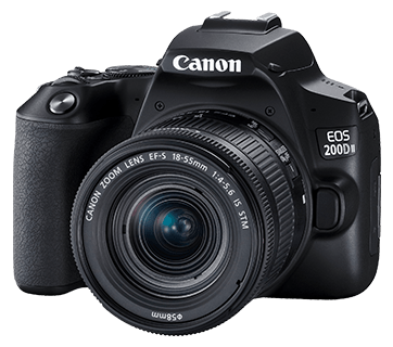 Canon EOS 200D II + EF-S 18-55mm f/3.5-5.6 IS STM Lens (Black) [Free 32GB SD Card + Camera Bag]