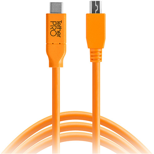 Tether Tools CUC2415-ORG TetherPro USB Type-C Male to 5-Pin Mini-USB 2.0 Type-B Male Cable (15', Orange)