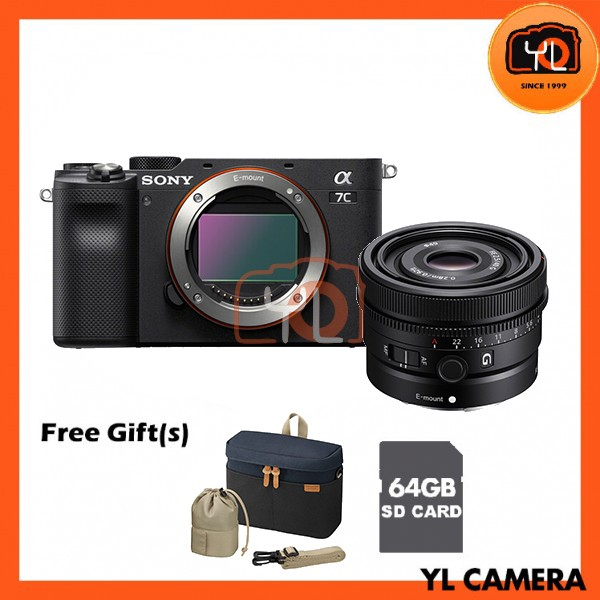 Sony A7C + FE 40mm F2.5 G - Black (Free 64GB SD Card + LCS-BBK)