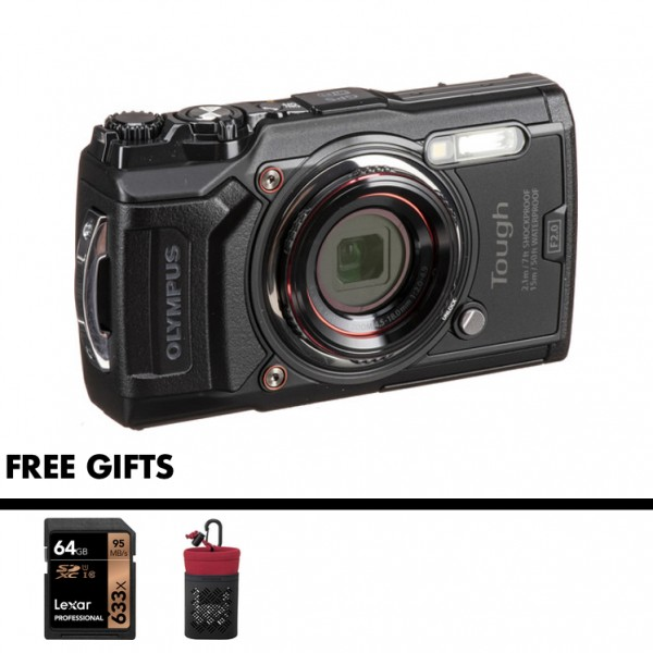 Olympus Tough TG-6 (Black) [Free LEXAR 64GB SD Card + Camera Case]