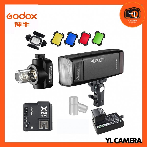 Godox AD200Pro TTL Pocket Flash Kit with X2T-S Wireless Flash Trigger + BD-07 Barn Door Honeycomb Kit + AD-S15 Bulbs Cover for Sony Combo Set