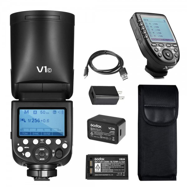 GODOX V1N Nikon TTL Li-ion Round Head Camera Flash Kit XPR-N Nikon Combo Set