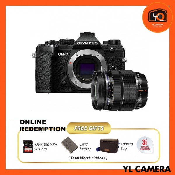 Olympus OM-D E-M5 Mark III W/ 12-40mm F2.8 PRO Lens - Black [Online Redemption Extra Battery + 32GB SD Card UHS-II + Olympus Bag]