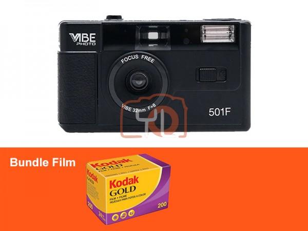 VIBE Photo 32mm Film Camera - Black (Free Kodak Gold 200)