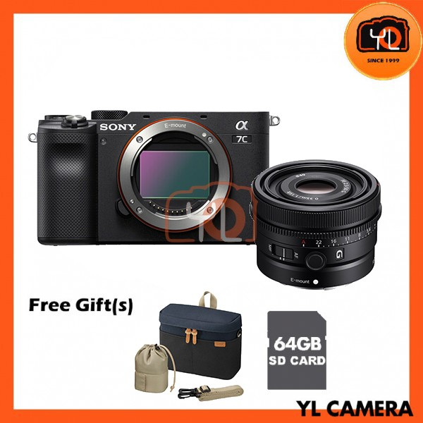 Sony A7C + FE 50mm F2.5 G - Black (Free 64GB SD Card + LCS-BBK)