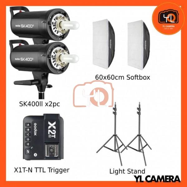 Godox SK400II Studio Flash 2 Lihgt Kit (60x60cm Sfotbox , Light Stand , X2T-Nikon TTL Trigger)