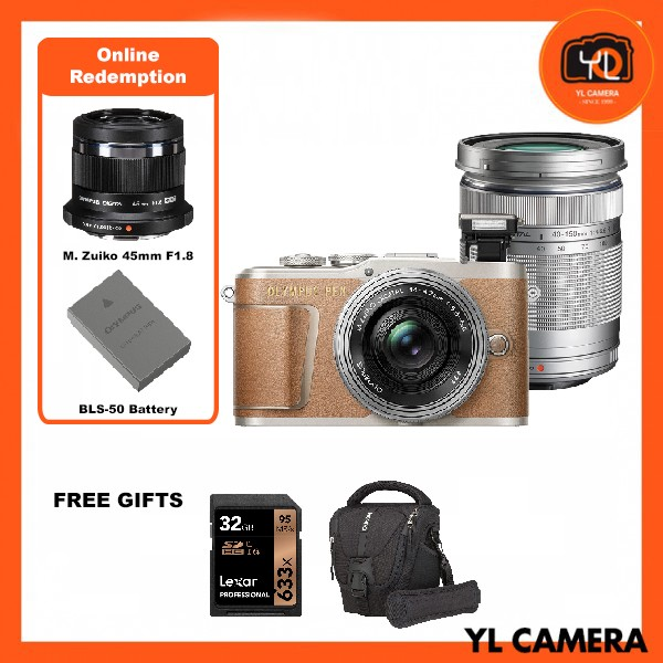 (Promotion) Olympus E-PL9 Twin Lens Kit [14-42mm + 40-150mm] (Brown) [Free Lexar 32GB 95MB SD Card + Benro ELZ10 Camera Bag] [Online Redemption 45mm F1.8 + Extra Battery]