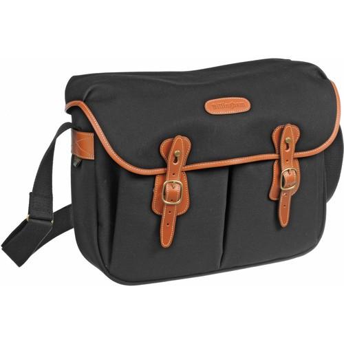(SPECIAL DEAL) Billingham Hadley Large Canvas Shoulder Bag (Black with Tan Leather Trim)