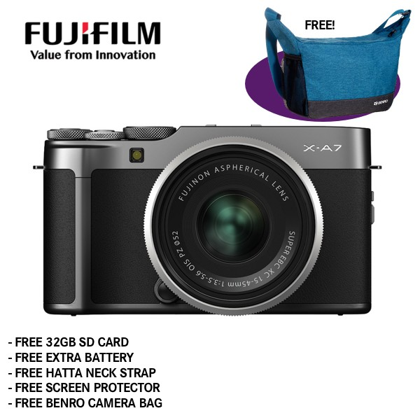 Fujifilm X-A7 + XC 15-45mm f/3.5-5.6 OIS PZ (Dark Silver) [Free 32GB SD Card + NP-W126S Battery + Hatta Neck Strap + Screen Protector + Benro Freeshoot 30 Camera Bag]