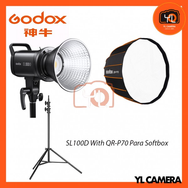 Godox SL100D Daylight With QR-P70 Parabolic Softbox + 280CM Light Stand (1 Light Kit)