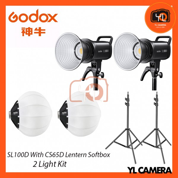Godox SL100D Daylight LED With CS-65D Collapsible Lantern Softbox + 280CM Light Stand (2 Light Duo Kit)