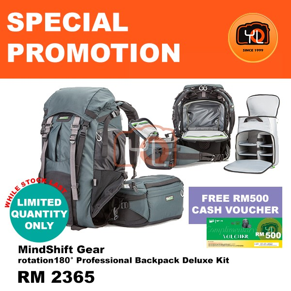 MindShift Gear rotation180° Professional Backpack Deluxe Kit (Free RM500 Cash Voucher)