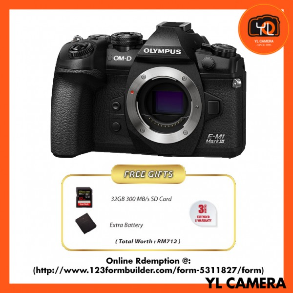 (Promotion) Olympus E-M1 Mark III (Black) [Online Redemption Extra Battery + 32GB SD Card UHS-II]
